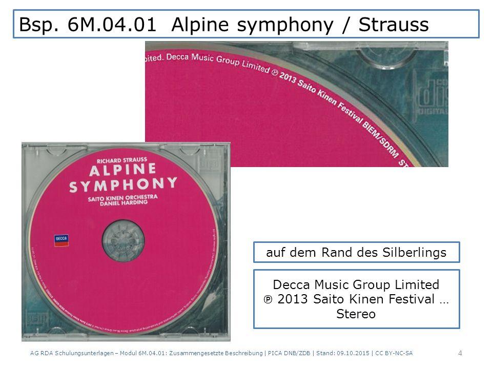 Bsp. 6M.04.01 Alpine symphony / Strauss AG RDA Schulungsunterlagen – Modul 6M.04.01: Zusammengesetzte Beschreibung   PICA DNB/ZDB   Stand: 09.10.2015