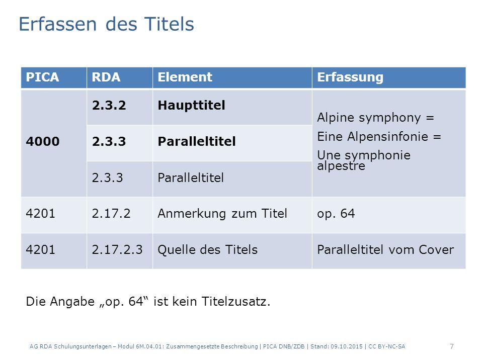 7 PICARDAElementErfassung 4000 2.3.2Haupttitel Alpine symphony = Eine Alpensinfonie = Une symphonie alpestre 2.3.3Paralleltitel 2.3.3Paralleltitel 42012.17.2Anmerkung zum Titelop.