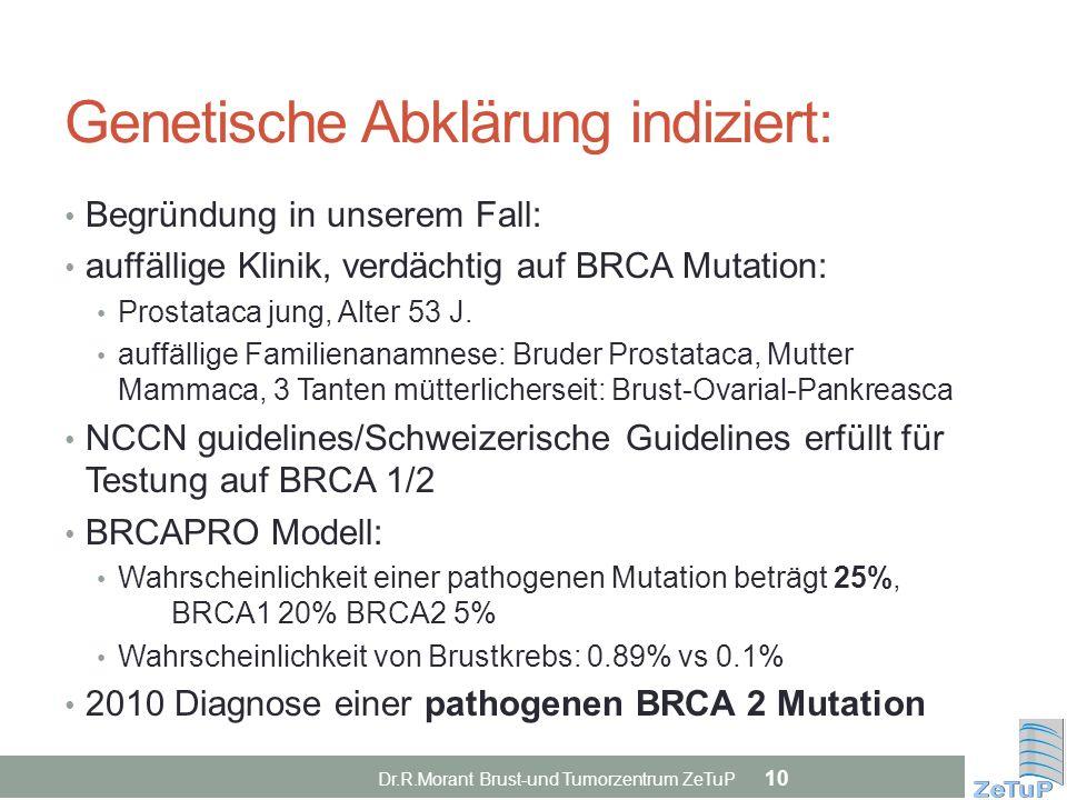 Genetische Abklärung indiziert: Begründung in unserem Fall: auffällige Klinik, verdächtig auf BRCA Mutation: Prostataca jung, Alter 53 J. auffällige F