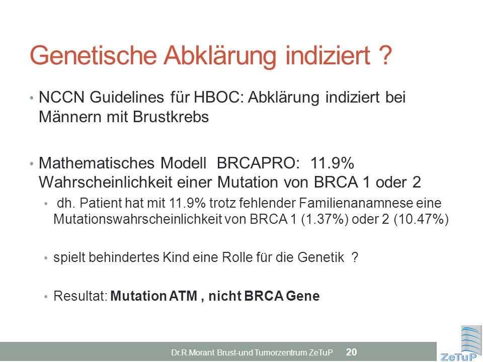 Genetische Abklärung indiziert ? NCCN Guidelines für HBOC: Abklärung indiziert bei Männern mit Brustkrebs Mathematisches Modell BRCAPRO: 11.9% Wahrsch