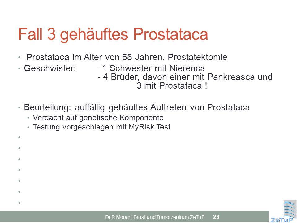 Fall 3 gehäuftes Prostataca Prostataca im Alter von 68 Jahren, Prostatektomie Geschwister: - 1 Schwester mit Nierenca - 4 Brüder, davon einer mit Pank
