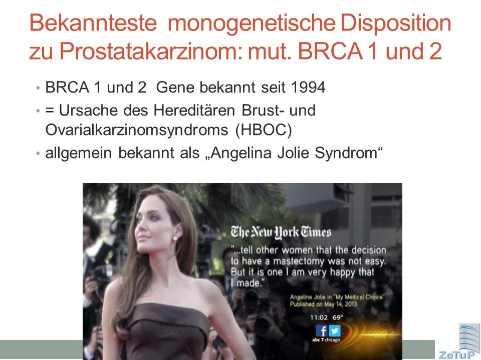Bekannteste monogenetische Disposition zu Prostatakarzinom: mut. BRCA 1 und 2 BRCA 1 und 2 Gene bekannt seit 1994 = Ursache des Hereditären Brust- und