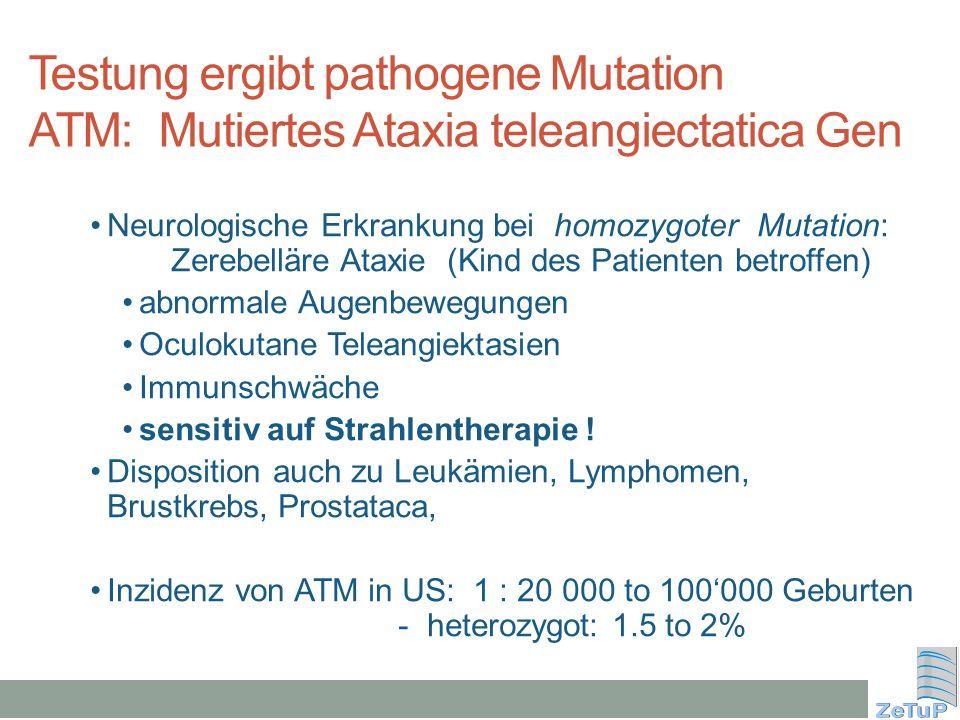 Testung ergibt pathogene Mutation ATM: Mutiertes Ataxia teleangiectatica Gen Neurologische Erkrankung bei homozygoter Mutation: Zerebelläre Ataxie (Ki