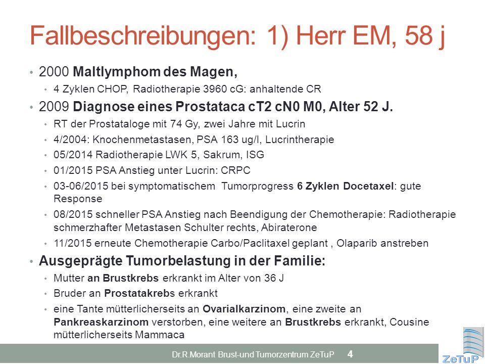 Fallbeschreibungen: 1) Herr EM, 58 j 2000 Maltlymphom des Magen, 4 Zyklen CHOP, Radiotherapie 3960 cG: anhaltende CR 2009 Diagnose eines Prostataca cT