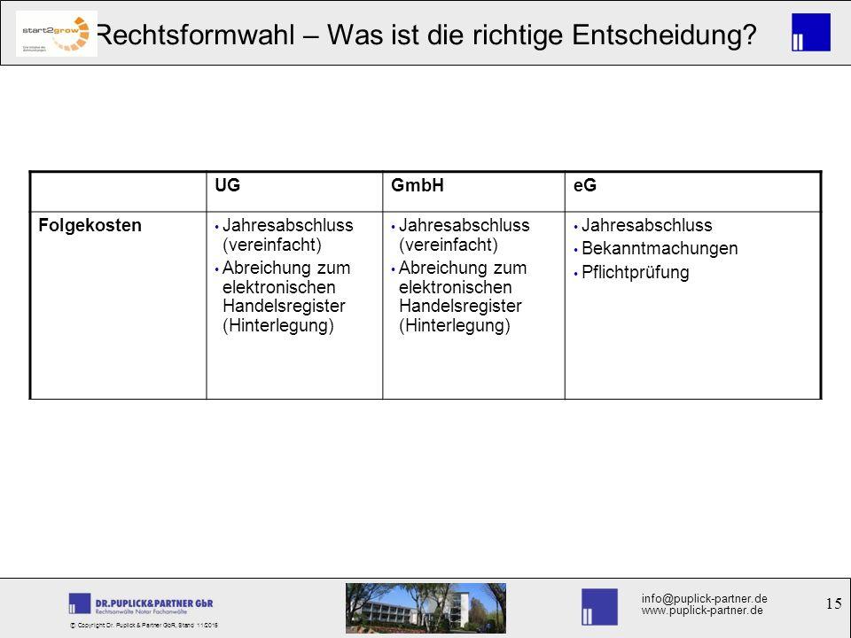 15 Rechtsformwahl – Was ist die richtige Entscheidung? info@puplick-partner.de www.puplick-partner.de © Copyright Dr. Puplick & Partner GbR, Stand 11/