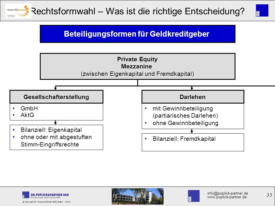 33 Rechtsformwahl – Was ist die richtige Entscheidung? info@puplick-partner.de www.puplick-partner.de © Copyright Dr. Puplick & Partner GbR, Stand 11/