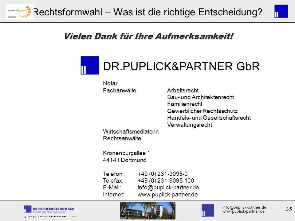 35 Rechtsformwahl – Was ist die richtige Entscheidung? info@puplick-partner.de www.puplick-partner.de © Copyright Dr. Puplick & Partner GbR, Stand 11/