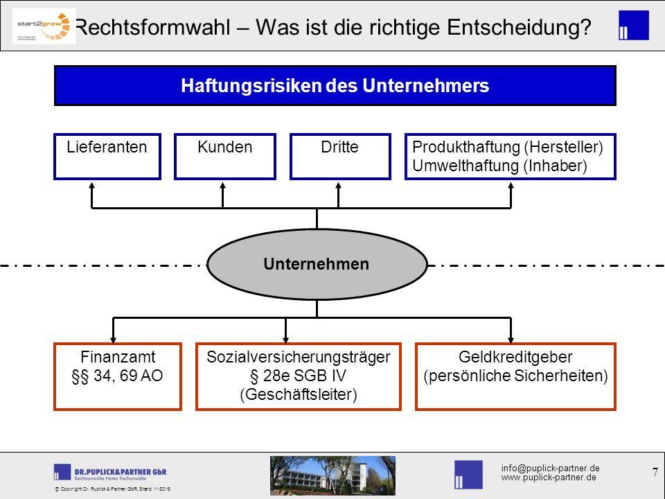 7 Rechtsformwahl – Was ist die richtige Entscheidung? info@puplick-partner.de www.puplick-partner.de © Copyright Dr. Puplick & Partner GbR, Stand 11/2