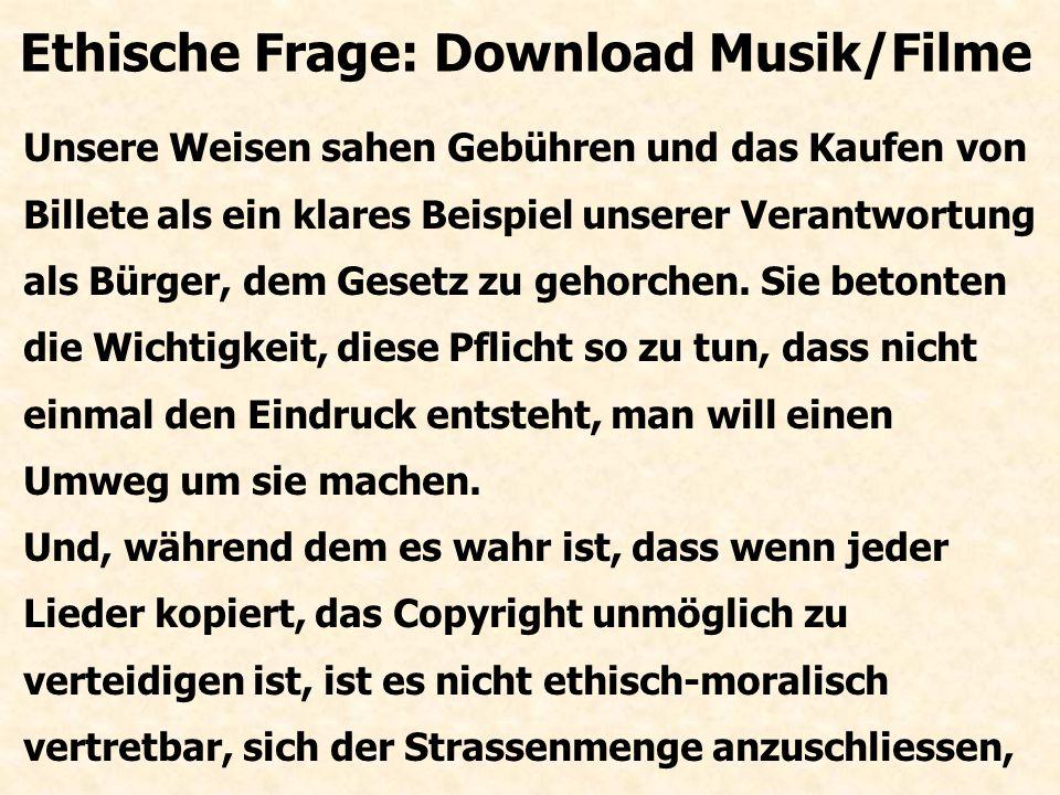 So unterstützt sie auch das Herstellen von Musik- Stücke indem sie ein Copyright verleihen, damit der Künstler von seinen Zuhörern einen rechten Preis bekommt, obwohl die CD zu kopieren fast nichts kostet.