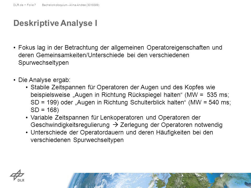 Die Häufigkeits- verteilungen der Operatordauern der Augen pro Spurwechseltyp und Phase Bachelorkolloquium - Alina Andree (3019389)DLR.de Folie 8