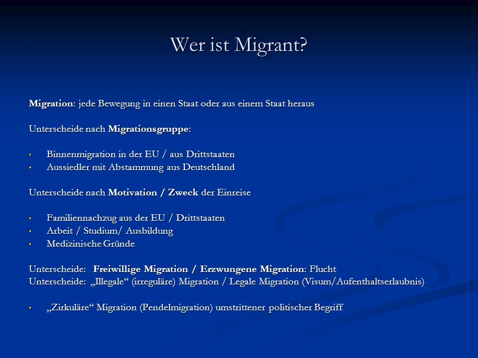 Wer ist Migrant.