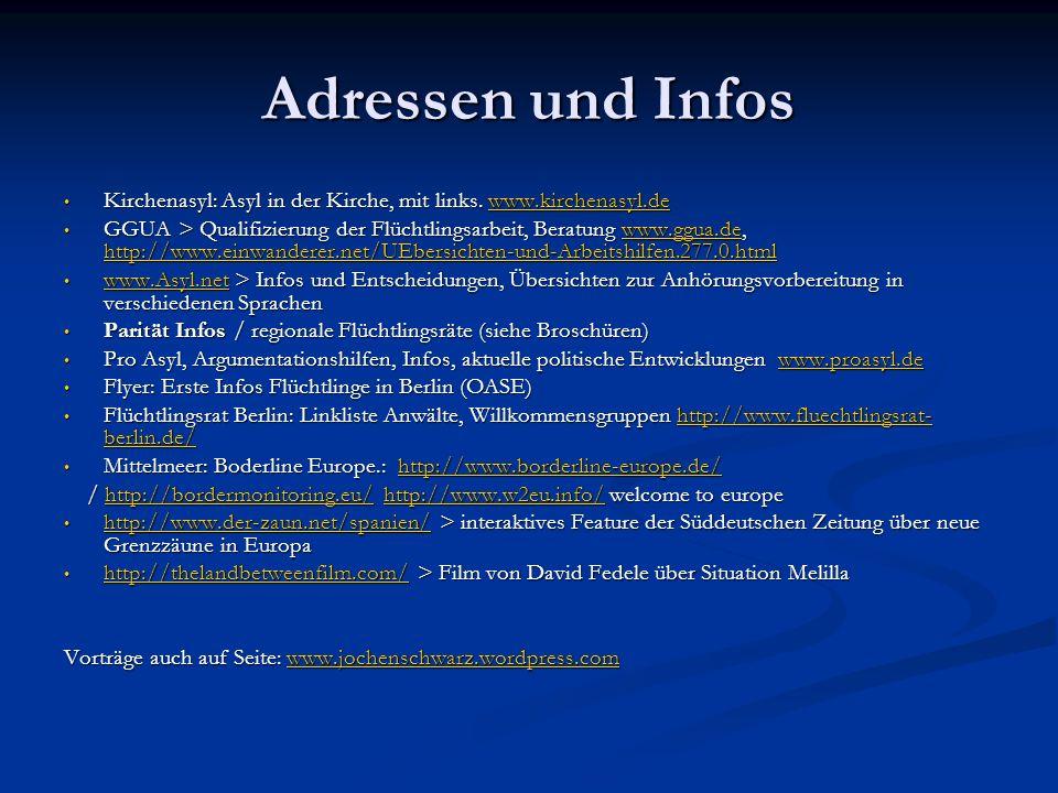 Adressen und Infos Kirchenasyl: Asyl in der Kirche, mit links.