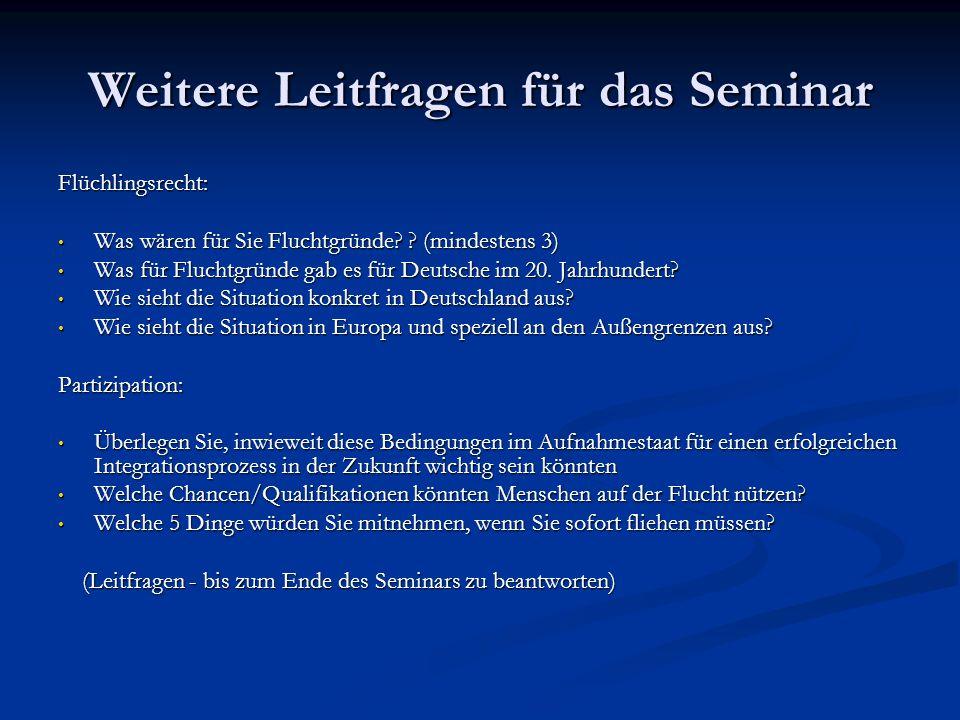 Weitere Leitfragen für das Seminar Flüchlingsrecht: Was wären für Sie Fluchtgründe.