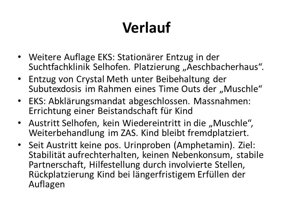 """Verlauf Weitere Auflage EKS: Stationärer Entzug in der Suchtfachklinik Selhofen. Platzierung """"Aeschbacherhaus"""". Entzug von Crystal Meth unter Beibehal"""