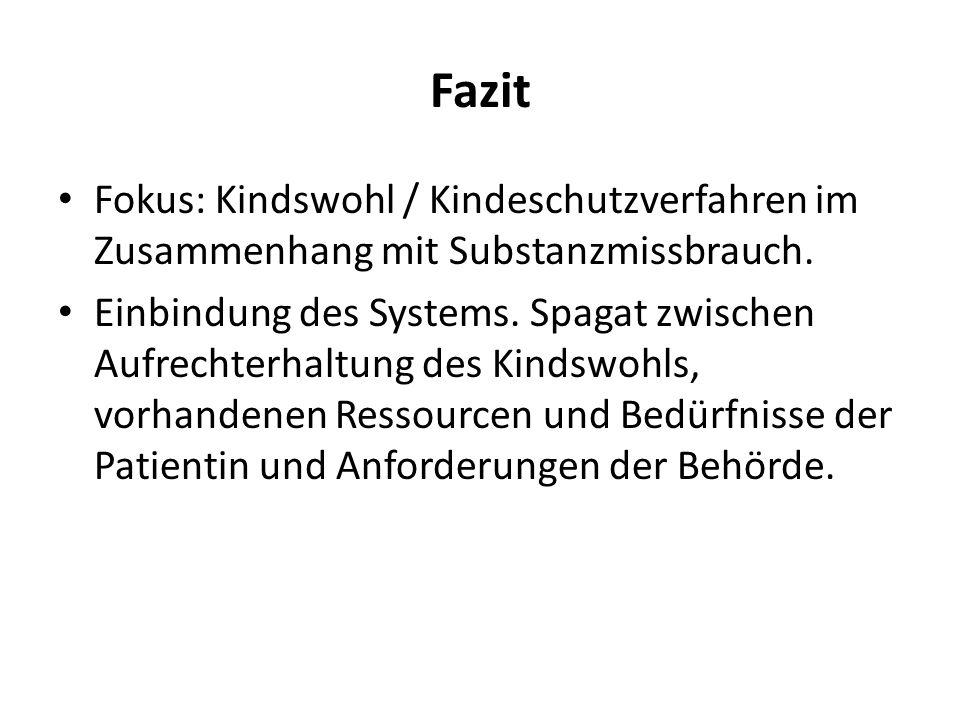 Fazit Fokus: Kindswohl / Kindeschutzverfahren im Zusammenhang mit Substanzmissbrauch. Einbindung des Systems. Spagat zwischen Aufrechterhaltung des Ki