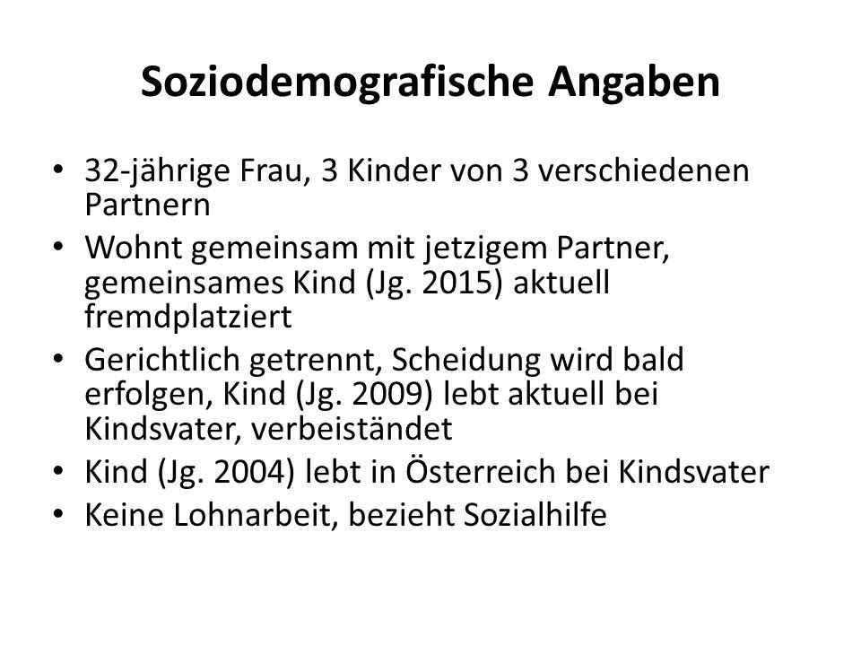 Soziodemografische Angaben 32-jährige Frau, 3 Kinder von 3 verschiedenen Partnern Wohnt gemeinsam mit jetzigem Partner, gemeinsames Kind (Jg. 2015) ak