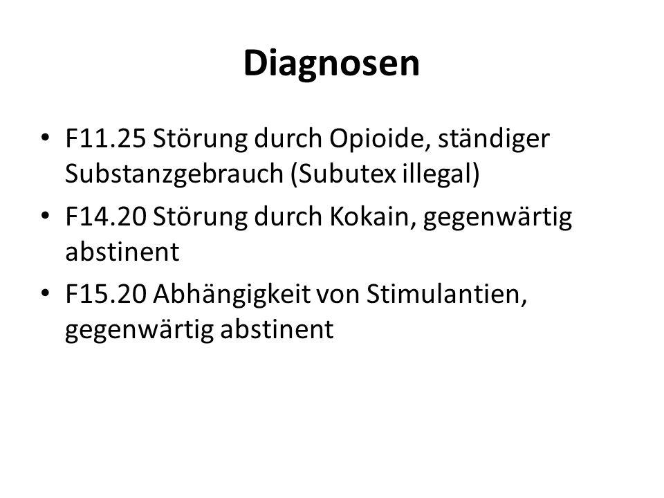 Diagnosen F11.25 Störung durch Opioide, ständiger Substanzgebrauch (Subutex illegal) F14.20 Störung durch Kokain, gegenwärtig abstinent F15.20 Abhängi