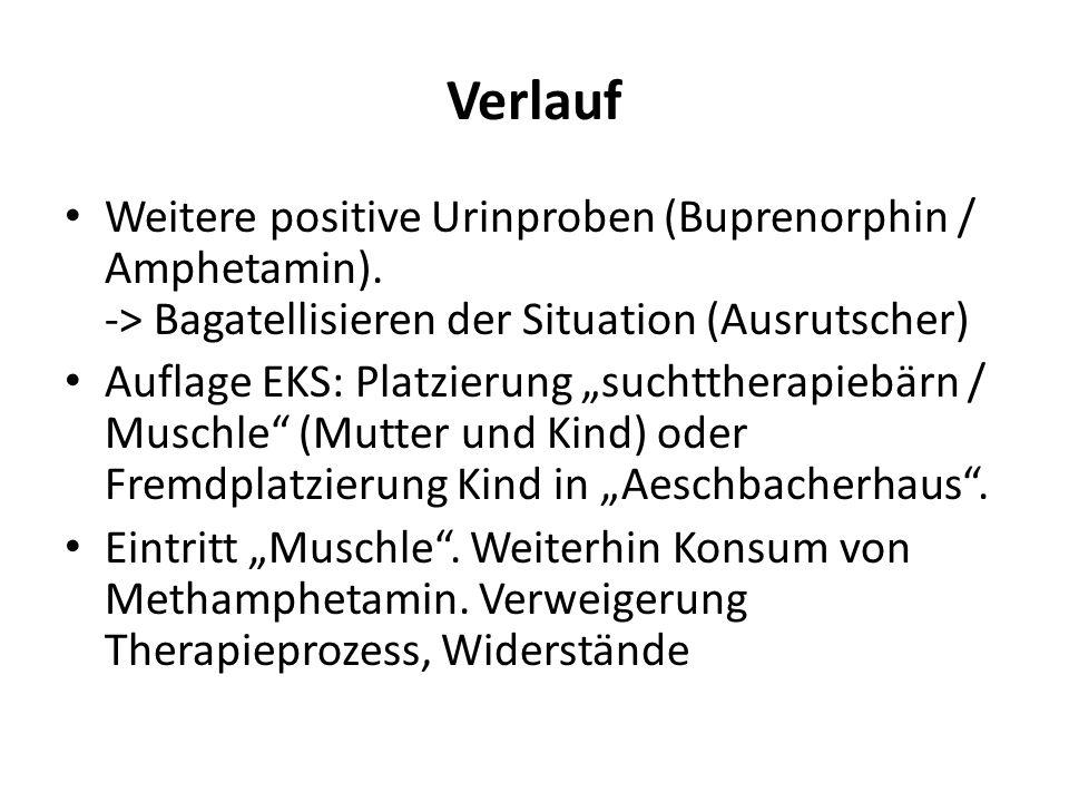 """Verlauf Weitere positive Urinproben (Buprenorphin / Amphetamin). -> Bagatellisieren der Situation (Ausrutscher) Auflage EKS: Platzierung """"suchttherapi"""