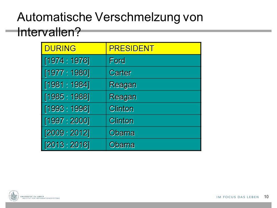 Automatische Verschmelzung von Intervallen? 10 DURINGPRESIDENT [1974 : 1976] Ford [1977 : 1980] Carter [1981 : 1984] Reagan [1985 : 1988] Reagan [1993