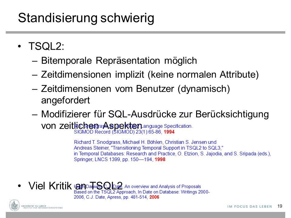Standisierung schwierig TSQL2: –Bitemporale Repräsentation möglich –Zeitdimensionen implizit (keine normalen Attribute) –Zeitdimensionen vom Benutzer