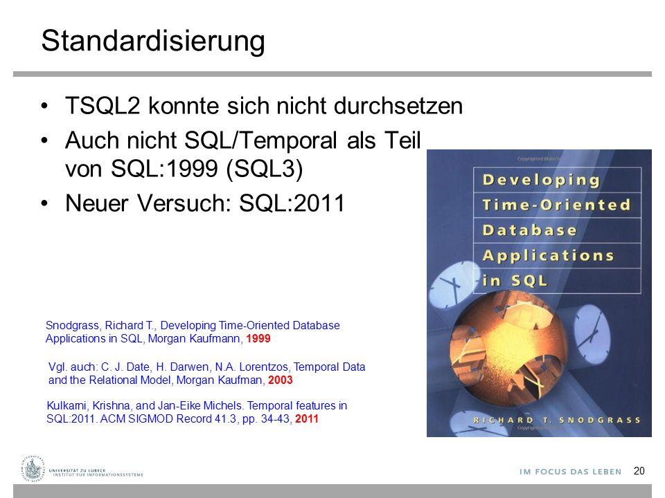 Standardisierung TSQL2 konnte sich nicht durchsetzen Auch nicht SQL/Temporal als Teil von SQL:1999 (SQL3) Neuer Versuch: SQL:2011 20 Snodgrass, Richar