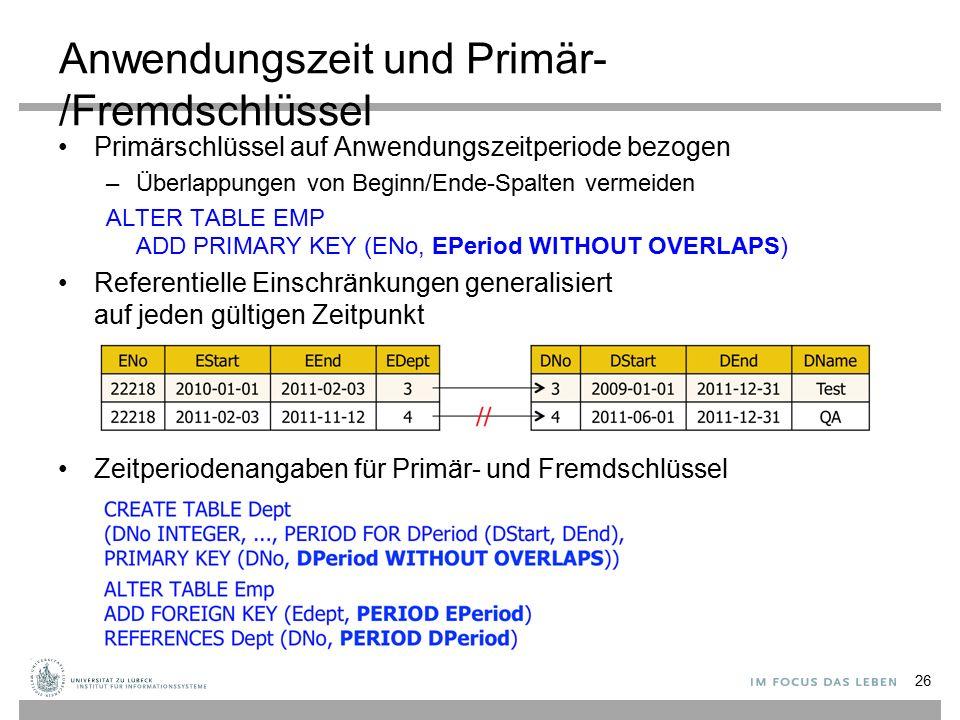 Anwendungszeit und Primär-/Fremdschlüssel Primärschlüssel auf Anwendungszeitperiode bezogen –Überlappungen von Beginn/Ende-Spalten vermeiden ALTER TAB