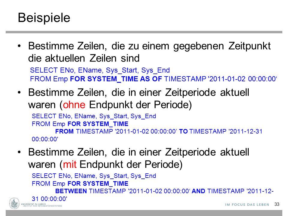 Beispiele Bestimme Zeilen, die zu einem gegebenen Zeitpunkt die aktuellen Zeilen sind SELECT ENo, EName, Sys_Start, Sys_End FROM Emp FOR SYSTEM_TIME A