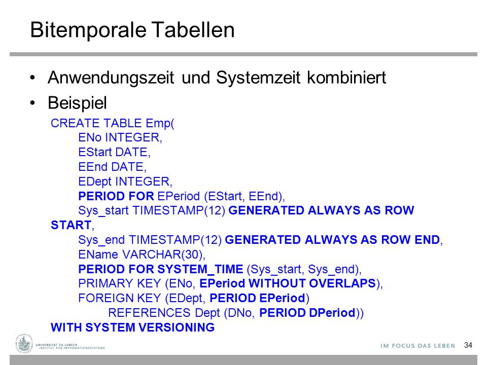 Bitemporale Tabellen Anwendungszeit und Systemzeit kombiniert Beispiel CREATE TABLE Emp( ENo INTEGER, EStart DATE, EEnd DATE, EDept INTEGER, PERIOD FO