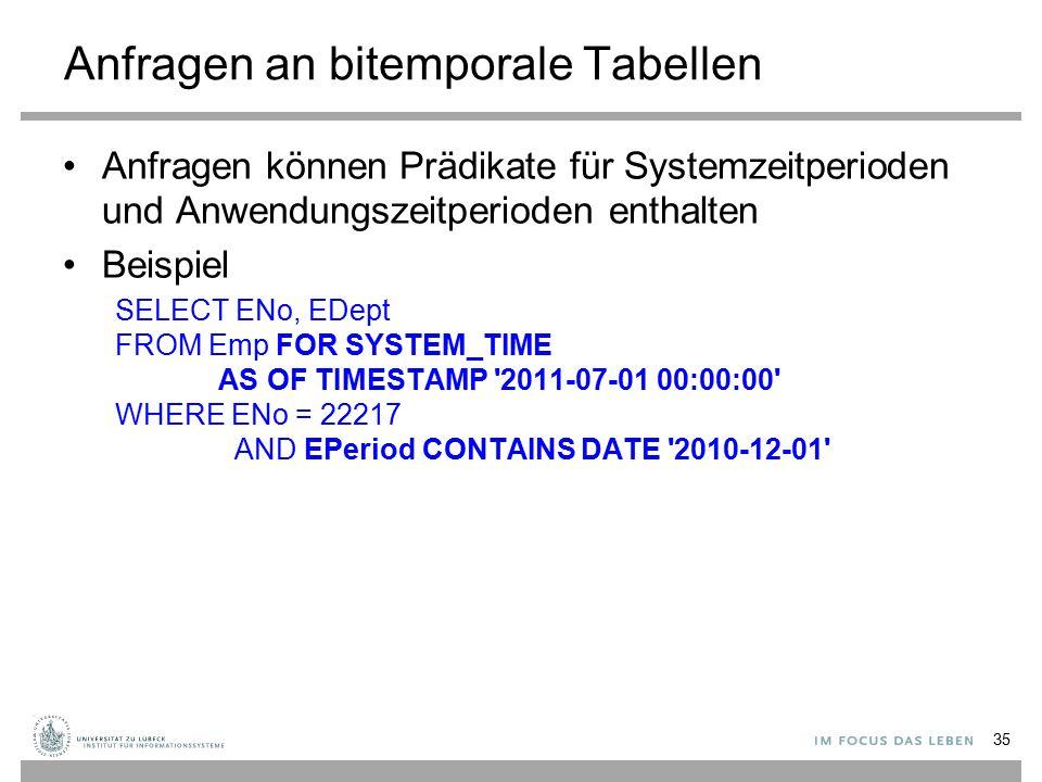 Anfragen an bitemporale Tabellen Anfragen können Prädikate für Systemzeitperioden und Anwendungszeitperioden enthalten Beispiel SELECT ENo, EDept FROM