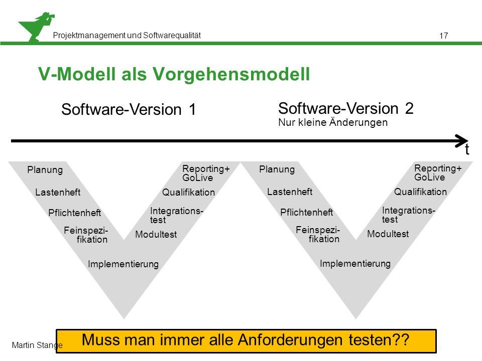 Projektmanagement und Softwarequalität 17 V-Modell als Vorgehensmodell Software-Version 1 Software-Version 2 Nur kleine Änderungen Planung Lastenheft