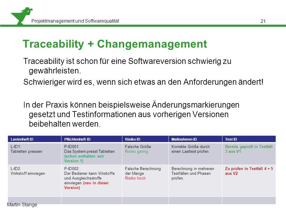 Projektmanagement und Softwarequalität 21 Traceability + Changemanagement Traceability ist schon für eine Softwareversion schwierig zu gewährleisten.