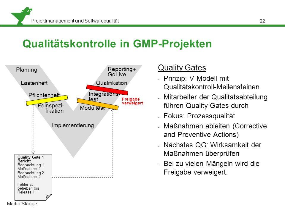 Projektmanagement und Softwarequalität 22 Qualitätskontrolle in GMP-Projekten Quality Gates - Prinzip: V-Modell mit Qualitätskontroll-Meilensteinen -