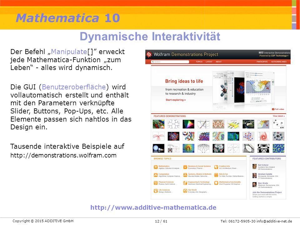 """Copyright © 2015 ADDITIVE GmbH Tel: 06172-5905-30 info@additive-net.de/ 6112 Der Befehl """"Manipulate[] erweckt jede Mathematica-Funktion """"zum Leben - alles wird dynamisch."""