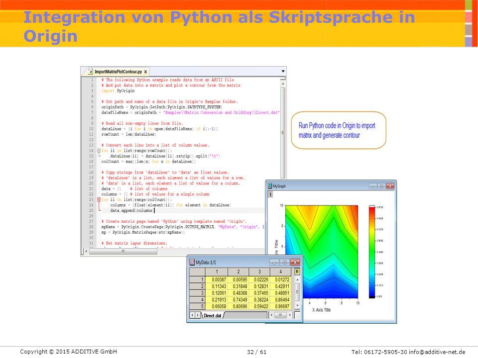 Copyright © 2015 ADDITIVE GmbH Tel: 06172-5905-30 info@additive-net.de/ 6132 Integration von Python als Skriptsprache in Origin