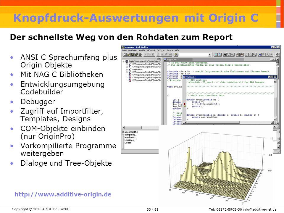 Copyright © 2015 ADDITIVE GmbH Tel: 06172-5905-30 info@additive-net.de/ 6133 ANSI C Sprachumfang plus Origin Objekte Mit NAG C Bibliotheken Entwicklungsumgebung Codebuilder Debugger Zugriff auf Importfilter, Templates, Designs COM-Objekte einbinden (nur OriginPro) Vorkompilierte Programme weitergeben Dialoge und Tree-Objekte http://www.additive-origin.de Der schnellste Weg von den Rohdaten zum Report Knopfdruck-Auswertungen mit Origin C