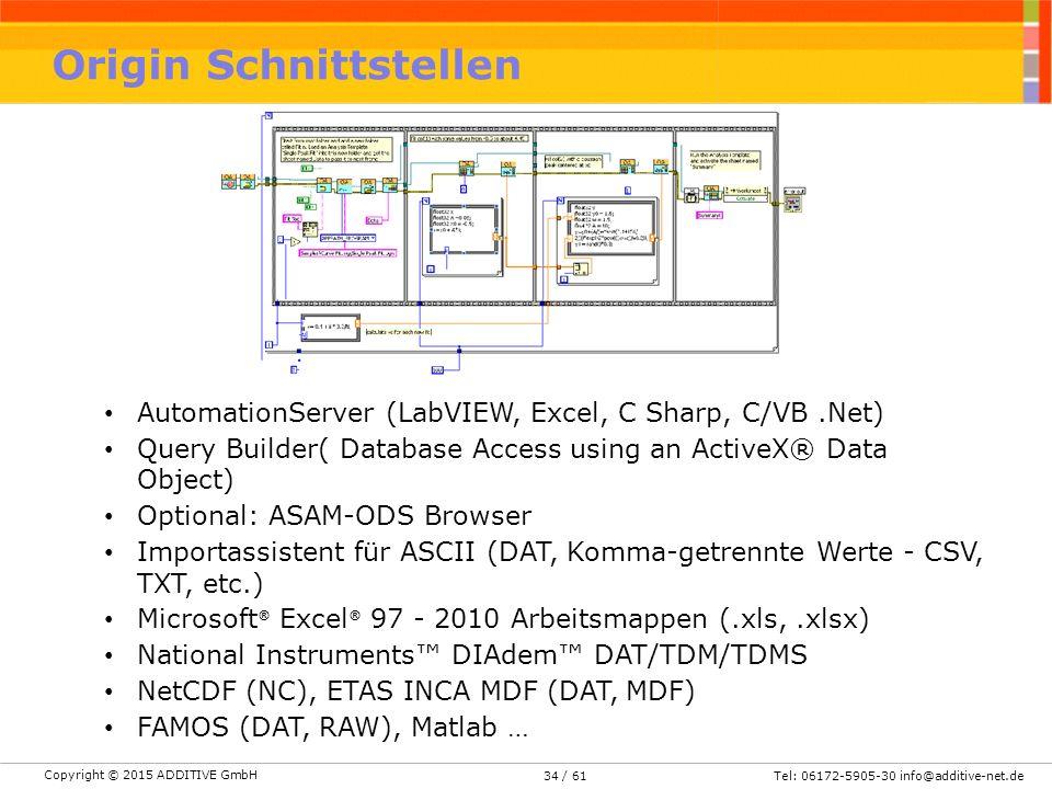 Copyright © 2015 ADDITIVE GmbH Tel: 06172-5905-30 info@additive-net.de/ 6134 Origin Schnittstellen AutomationServer (LabVIEW, Excel, C Sharp, C/VB.Net) Query Builder( Database Access using an ActiveX® Data Object) Optional: ASAM-ODS Browser Importassistent für ASCII (DAT, Komma-getrennte Werte - CSV, TXT, etc.) Microsoft ® Excel ® 97 - 2010 Arbeitsmappen (.xls,.xlsx) National Instruments™ DIAdem™ DAT/TDM/TDMS NetCDF (NC), ETAS INCA MDF (DAT, MDF) FAMOS (DAT, RAW), Matlab …
