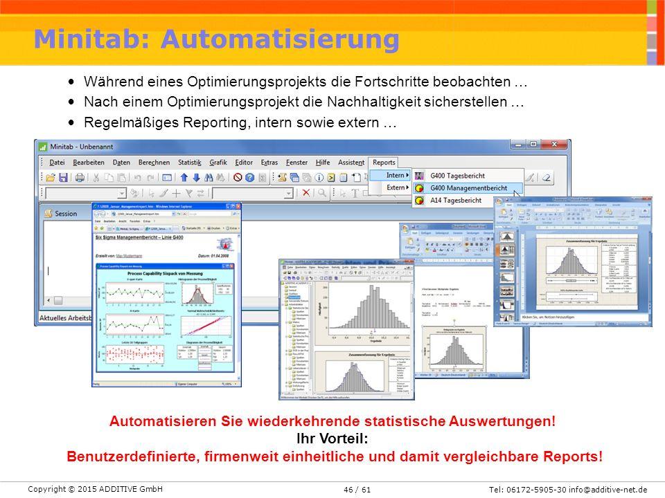 Copyright © 2015 ADDITIVE GmbH Tel: 06172-5905-30 info@additive-net.de/ 6146 Während eines Optimierungsprojekts die Fortschritte beobachten … Nach einem Optimierungsprojekt die Nachhaltigkeit sicherstellen … Regelmäßiges Reporting, intern sowie extern … Automatisieren Sie wiederkehrende statistische Auswertungen.