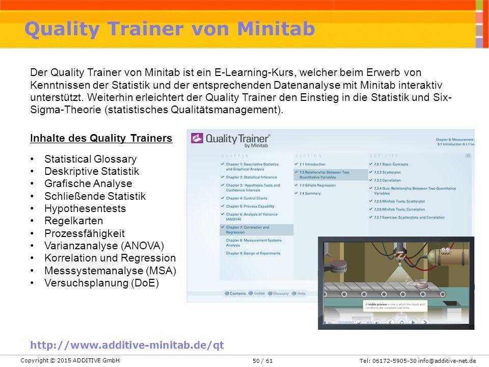 Copyright © 2015 ADDITIVE GmbH Tel: 06172-5905-30 info@additive-net.de/ 6150 Quality Trainer von Minitab http://www.additive-minitab.de/qt Der Quality Trainer von Minitab ist ein E-Learning-Kurs, welcher beim Erwerb von Kenntnissen der Statistik und der entsprechenden Datenanalyse mit Minitab interaktiv unterstützt.