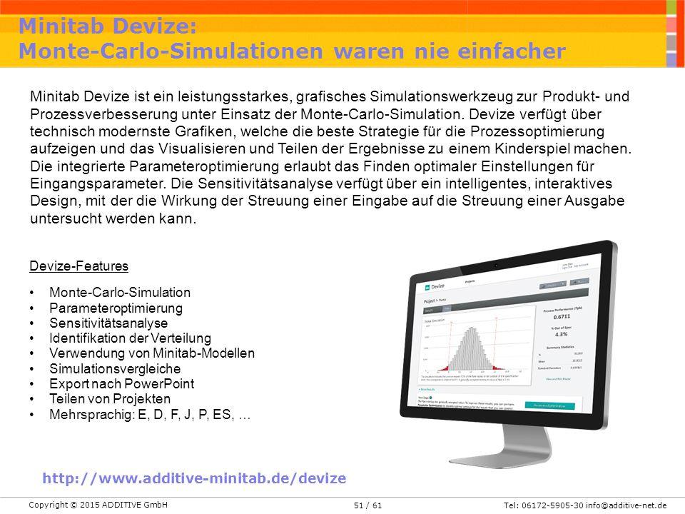 Copyright © 2015 ADDITIVE GmbH Tel: 06172-5905-30 info@additive-net.de/ 6151 http://www.additive-minitab.de/devize Minitab Devize ist ein leistungsstarkes, grafisches Simulationswerkzeug zur Produkt- und Prozessverbesserung unter Einsatz der Monte-Carlo-Simulation.