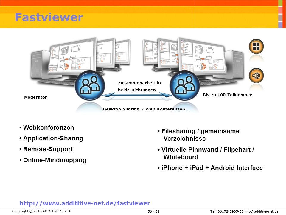 Copyright © 2015 ADDITIVE GmbH Tel: 06172-5905-30 info@additive-net.de/ 6156 Fastviewer Zusammenarbeit in beide Richtungen Bis zu 100 Teilnehmer Moderator Desktop-Sharing / Web-Konferenzen...