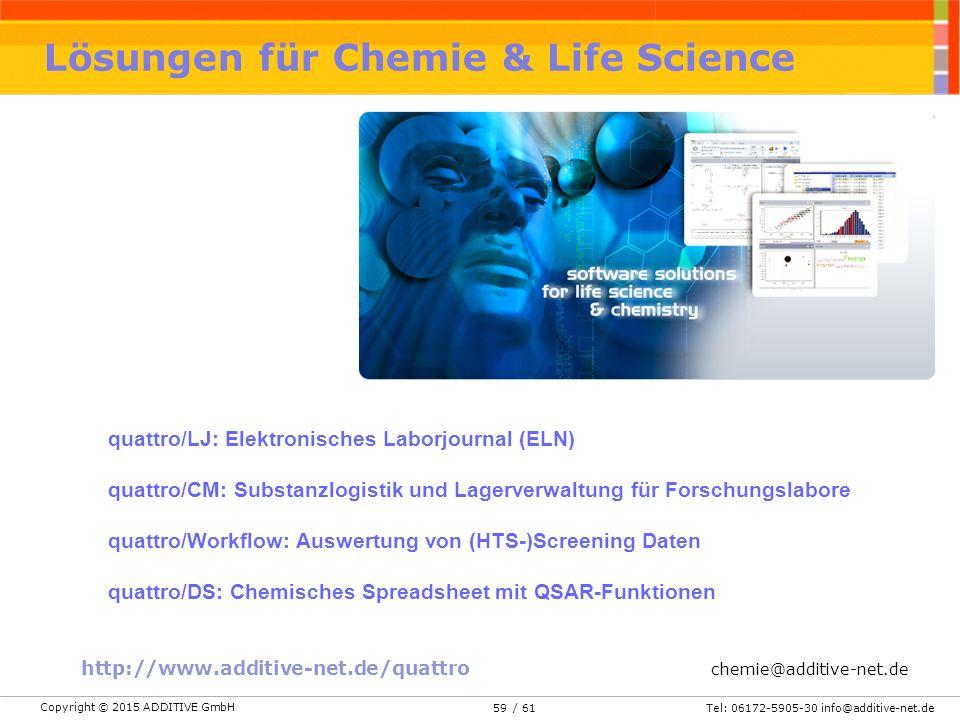 Copyright © 2015 ADDITIVE GmbH Tel: 06172-5905-30 info@additive-net.de/ 6159 Lösungen für Chemie & Life Science http://www.additive-net.de/quattro chemie@additive-net.de quattro/LJ: Elektronisches Laborjournal (ELN) quattro/CM: Substanzlogistik und Lagerverwaltung für Forschungslabore quattro/Workflow: Auswertung von (HTS-)Screening Daten quattro/DS: Chemisches Spreadsheet mit QSAR-Funktionen
