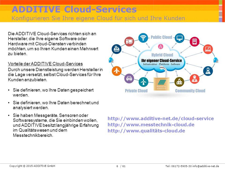 Copyright © 2015 ADDITIVE GmbH Tel: 06172-5905-30 info@additive-net.de/ 61 ADDITIVE Cloud-Services Konfigurieren Sie Ihre eigene Cloud für sich und Ihre Kunden http://www.additive-net.de/cloud-service http://www.messtechnik-cloud.de http://www.qualitäts-cloud.de Die ADDITIVE Cloud-Services richten sich an Hersteller, die Ihre eigene Software oder Hardware mit Cloud-Diensten verbinden möchten, um so Ihren Kunden einen Mehrwert zu bieten.
