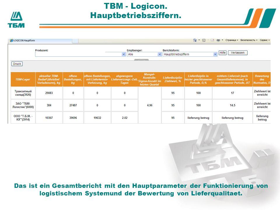 ТBМ - Logicon. Hauptbetriebsziffern.
