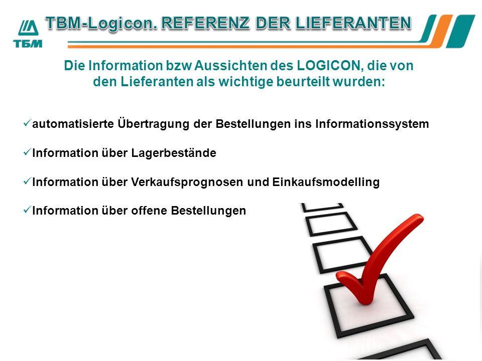 Die Information bzw Aussichten des LOGICON, die von den Lieferanten als wichtige beurteilt wurden: automatisierte Übertragung der Bestellungen ins Informationssystem Information über Lagerbestände Information über Verkaufsprognosen und Einkaufsmodelling Information über offene Bestellungen