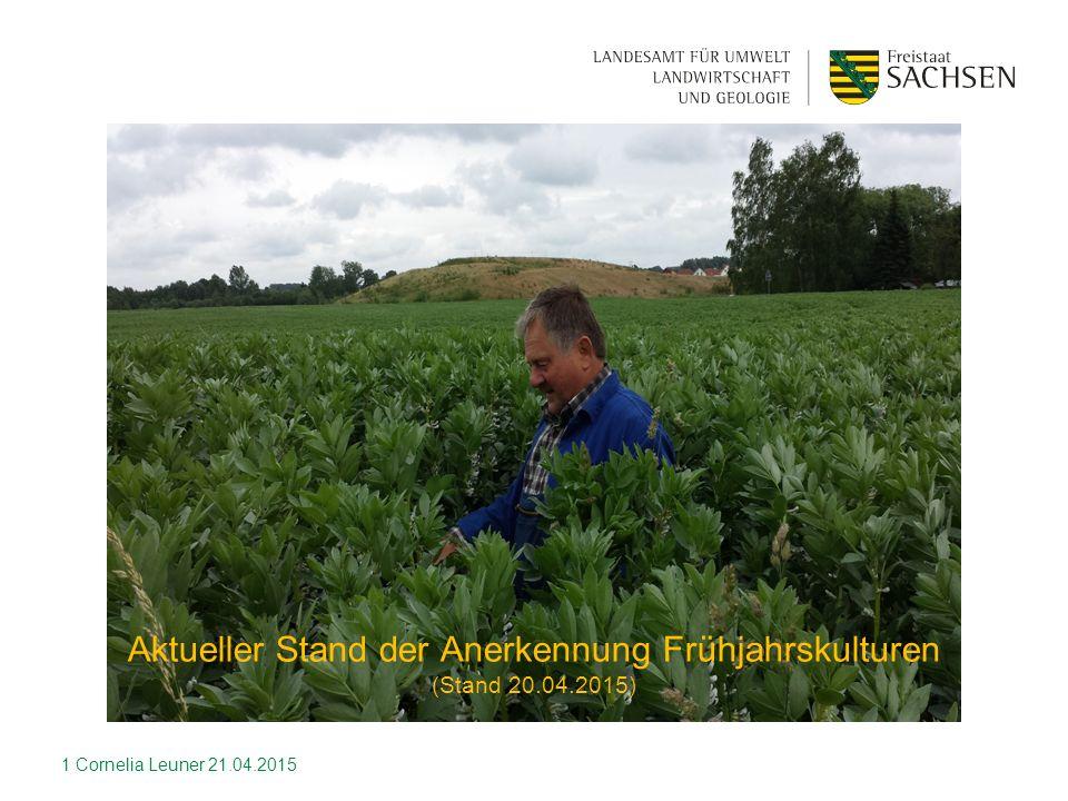 1 Aktueller Stand der Anerkennung Frühjahrskulturen (Stand 20.04.2015) Cornelia Leuner 21.04.2015