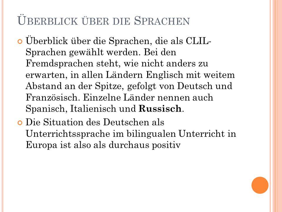 Ü BERBLICK ÜBER DIE S PRACHEN Überblick über die Sprachen, die als CLIL- Sprachen gewählt werden. Bei den Fremdsprachen steht, wie nicht anders zu erw