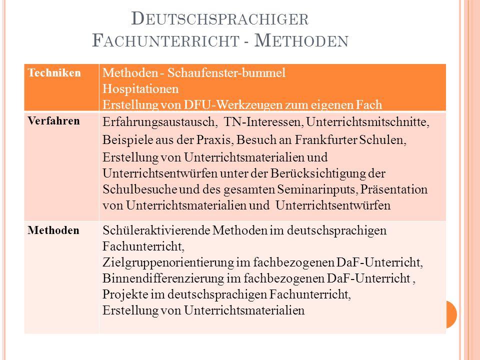 D EUTSCHSPRACHIGER F ACHUNTERRICHT - M ETHODEN Techniken Methoden - Schaufenster-bummel Hospitationen Erstellung von DFU-Werkzeugen zum eigenen Fach V