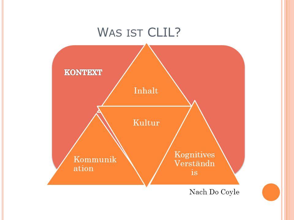 W AS IST CLIL? Inhalt Kommunik ation Kultur Kognitives Verständn is Nach Do Coyle