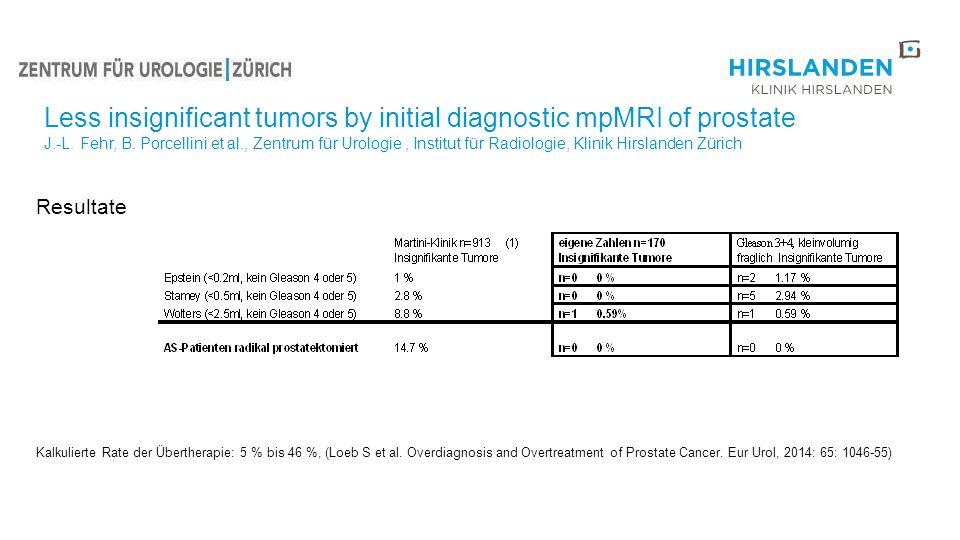 Resultate Kalkulierte Rate der Übertherapie: 5 % bis 46 %, (Loeb S et al. Overdiagnosis and Overtreatment of Prostate Cancer. Eur Urol, 2014: 65: 1046