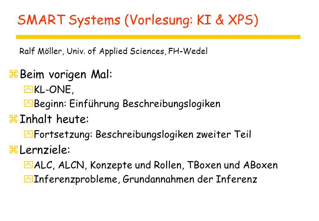 SMART Systems (Vorlesung: KI & XPS) zBeim vorigen Mal: yKL-ONE, yBeginn: Einführung Beschreibungslogiken zInhalt heute: yFortsetzung: Beschreibungslogiken zweiter Teil zLernziele: yALC, ALCN, Konzepte und Rollen, TBoxen und ABoxen yInferenzprobleme, Grundannahmen der Inferenz Ralf Möller, Univ.